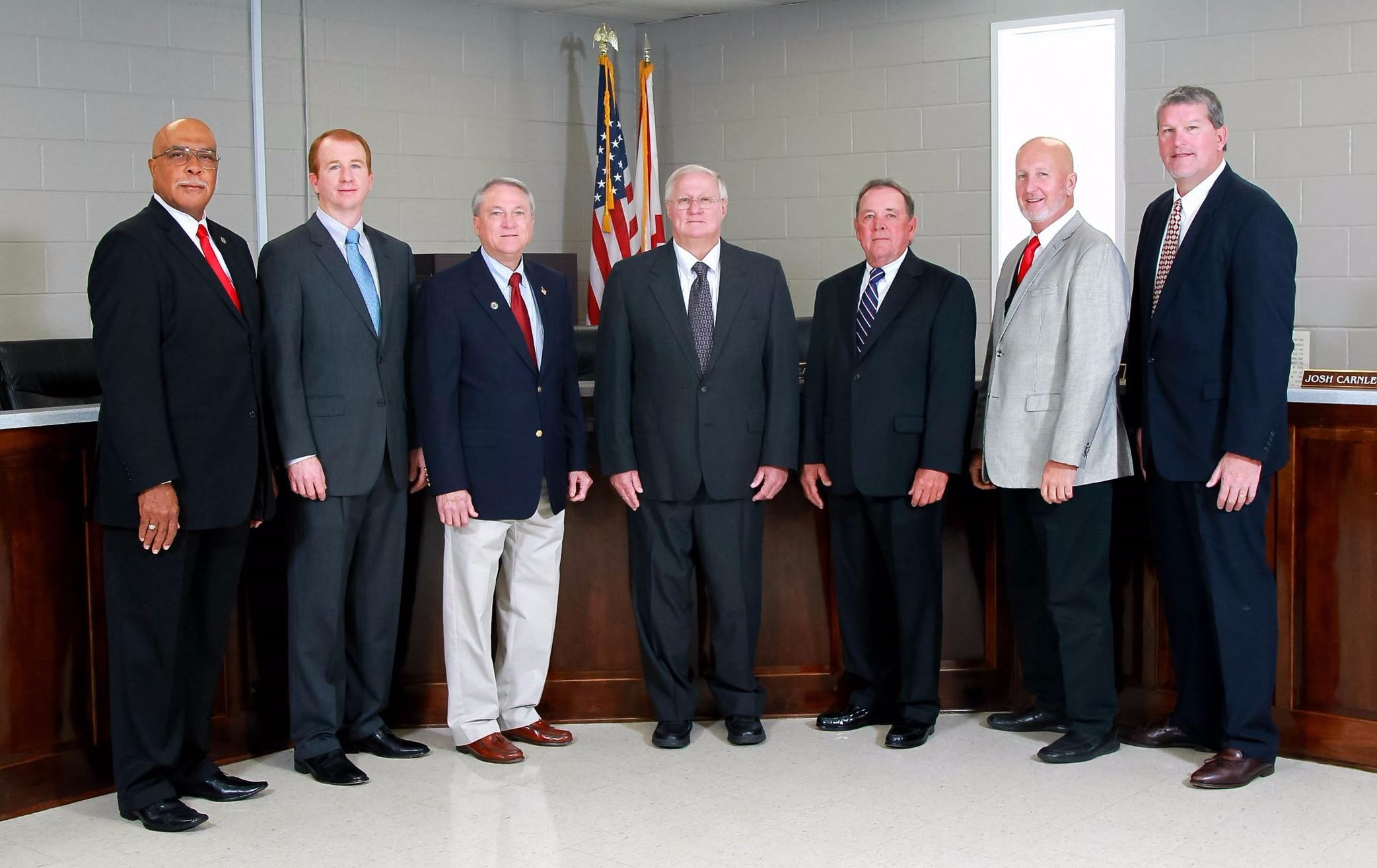 left to right: Jimmy Jones, Josh Carnley, Tom Grimsley, Dean Smith, Al Britt, Kim Ellis, Jim Thompson